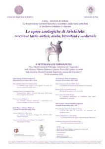 Le opere zoologiche di Aristotele: recezione tardo-antica, araba, bizantina e medievale